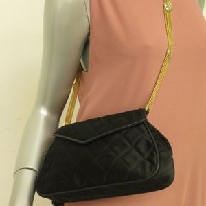 Chanel Vintage Quilted Satin Bag Black CC Tassel